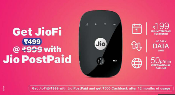 Reliance Jio Offer JioFi Rs 499 cashback with Jio Postpaid SIM