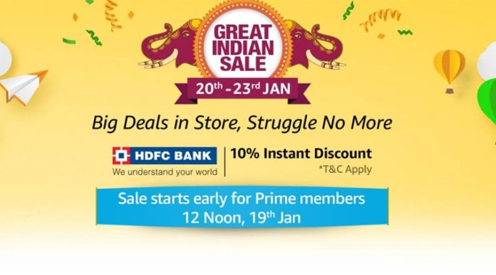 Amazon Great Indian Sale: Discount on Smartphones, HDFC bank 10% Instant discount