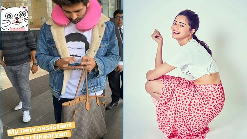 Actor Kartik Aaryan carries Ananya Pandey's handbag at the Airport