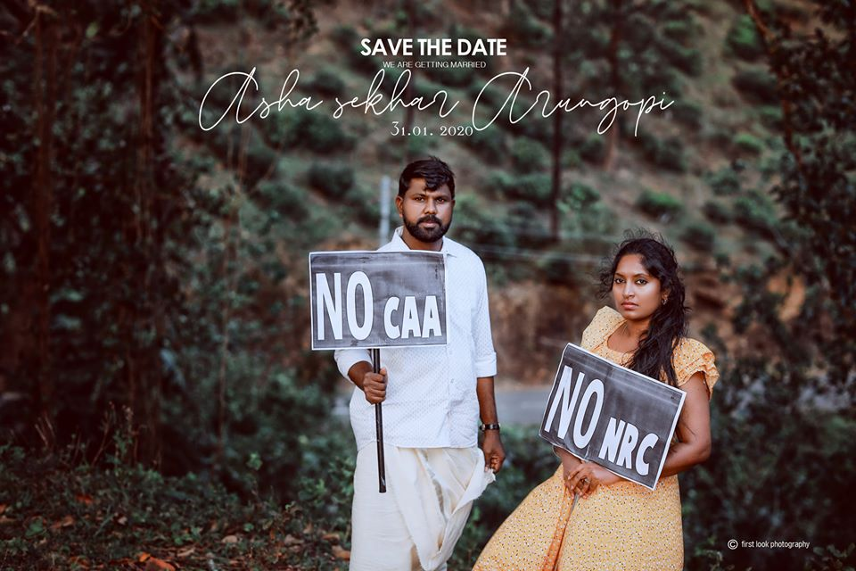Kerala couple protests against CCA and NRC save the date shoot