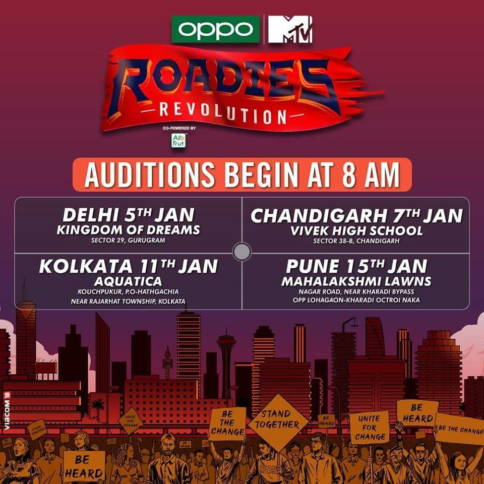 MTV Roadies Revolution 2020 Auditions, Registration Open & Audition Schedules Revealed