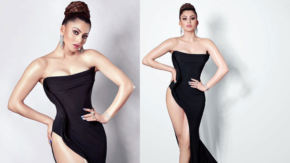Urvarshi Rautela ups the hotness quotient in a black thigh-slit gown