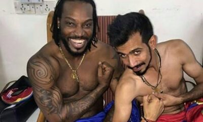Chris Gayle and Yuzvendra Chahal flex their muscle in shirtless